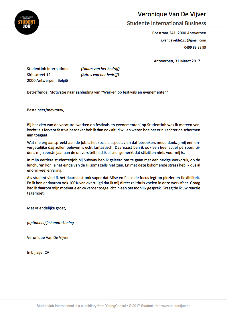 sollicitatiebrief voorbeeld De motivatiebrief | StudentJob.be