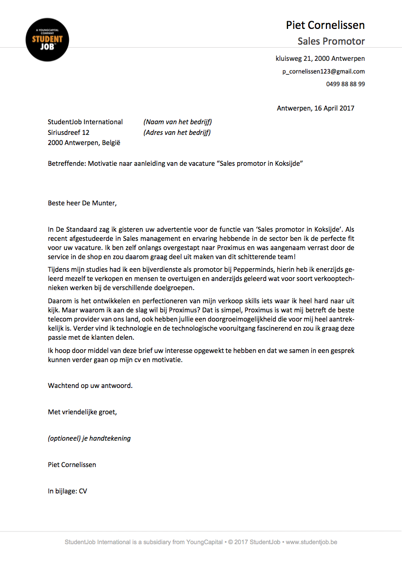 sollicitatiebrief motivatiebrief voorbeeld De motivatiebrief | StudentJob.be