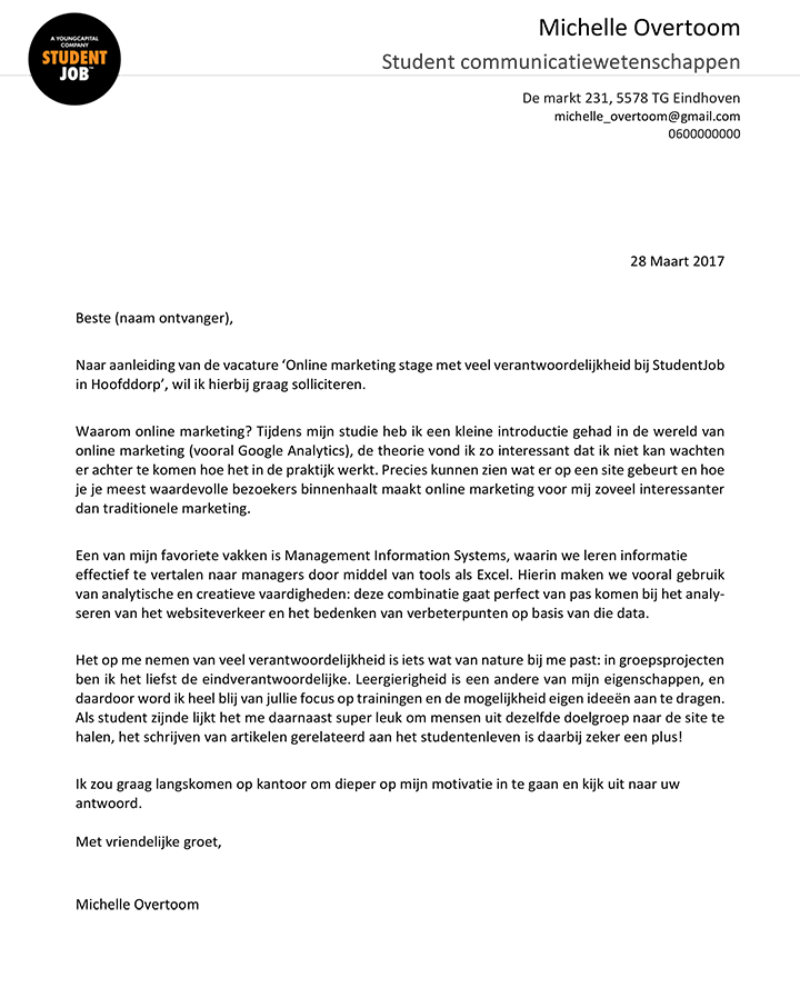 motivatiebrief hulpkracht De sollicitatiebrief | StudentJob