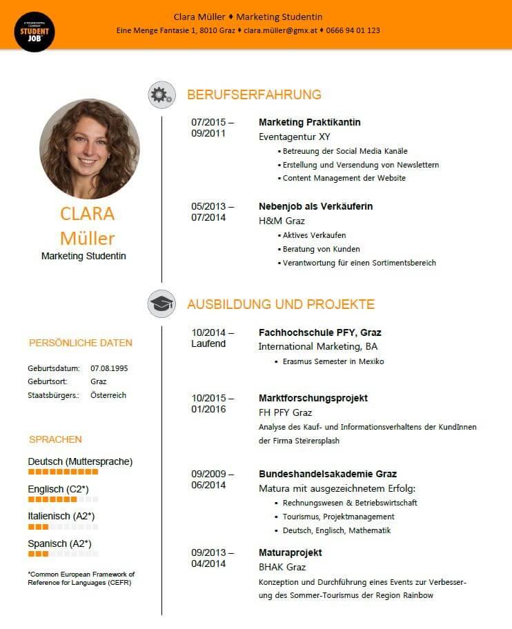 Lebenslauf - Tipps und Vorlagen | StudentJob AT