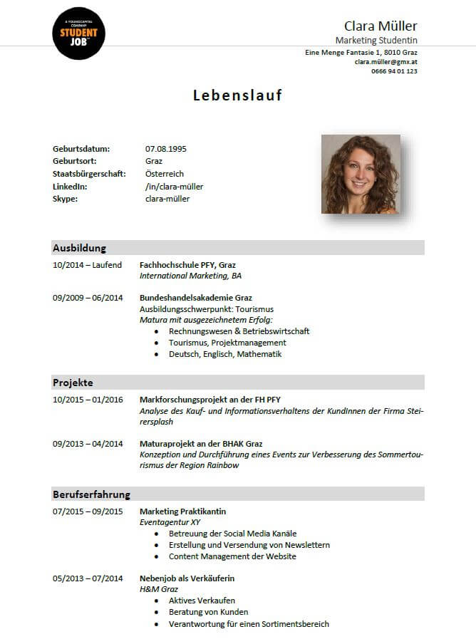Vorlage für einen Standard-Lebenslauf | StudentJob AT