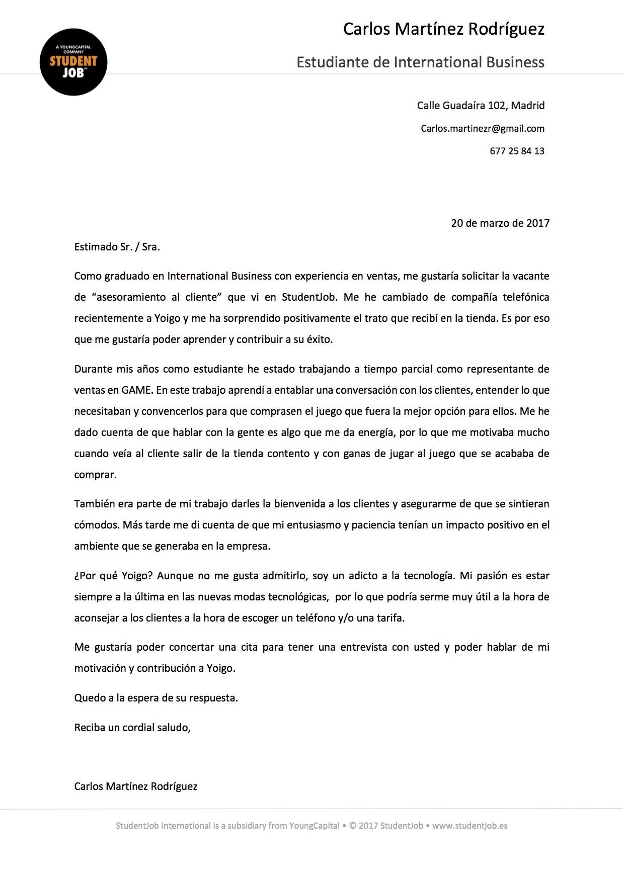 La Carta de presentación | Consejos | StudentJob ES